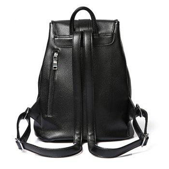 Simple Black Color and Drawstring Design Women's Satchel -  BLACK