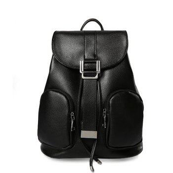 Simple Black Color and Drawstring Design Women's Satchel
