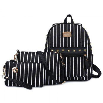 Sweet Striped and Rivet Design Women's Satchel