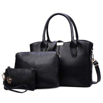 Concise Solid Color and Metal Design Women's Tote Bag