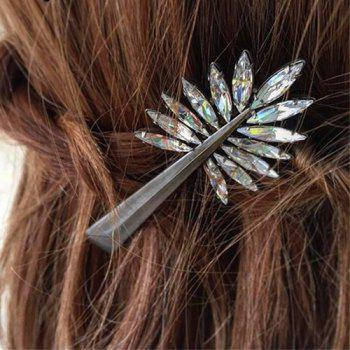 Simple Faux Crystal Leaf Hairpin For Women - SILVER