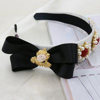 Graceful Faux Pearl Bowknot Hairband For Women - BLACK