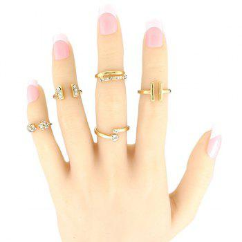 5 Pcs/Set Rhinestone Geometric Cuff Rings