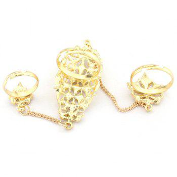 Hollow Out Rhinestone Geometric Double Full Fingers Ring - GOLDEN