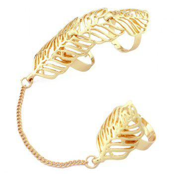 Leaf Hollow Out Double Full Fingers Ring - GOLDEN
