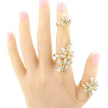 Flower Rhinestone Double Full Fingers Ring