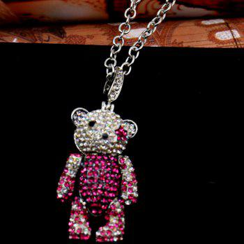 Vintage Rhinestoned Bear Pendant Necklace For Women