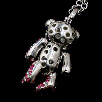Vintage Rhinestoned Bear Pendant Necklace For Women - PINK