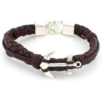 Punk Anchor Braided PU Leather Bracelet
