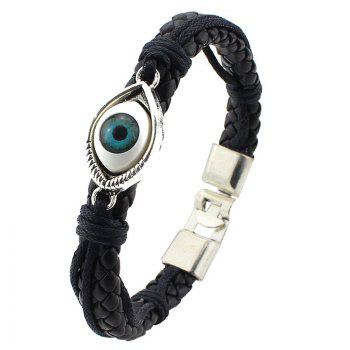 Retro Blue Eye PU Leather Knitted Bracelet For Men