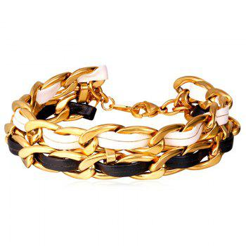 Chic Artificial Leather Chain Bracelet For Men