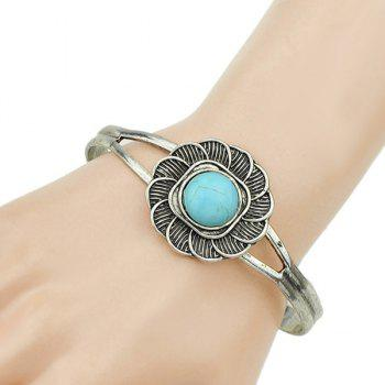 Faux Turquoise Embellished Floral Cuff Bracelet
