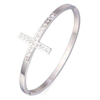 Vintage Stainless Steel Rhinestone Cross Bracelet For Women