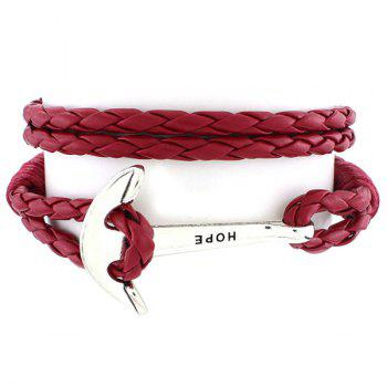 Anchor PU Leather Braided Bracelet