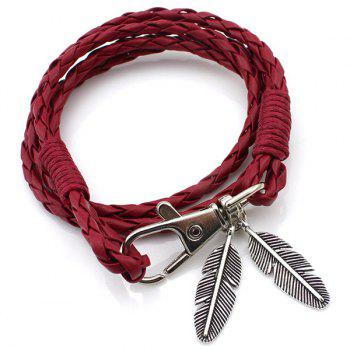 Feather Braid PU Leather Wrap Bracelet