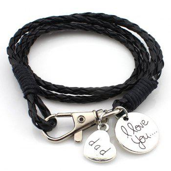 PU Leather Key Chain Round Knitted Wrap Bracelet