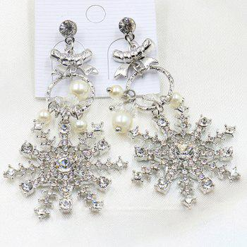 Pair of Faux Pearl Rhinestoned Snowflake Earrings