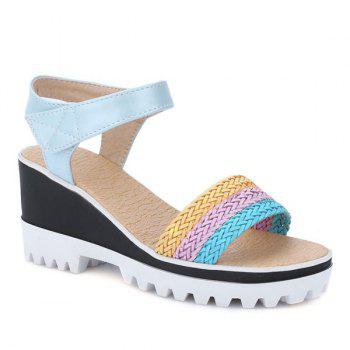 Leisure Weaving and Color Block Design Women's Sandals