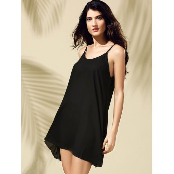 Brief Style Spaghetti Strap Sleeveless Black Criss-Cross Women's Dress - M M