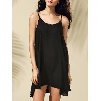 Brief Style Spaghetti Strap Sleeveless Black Criss-Cross Women's Dress