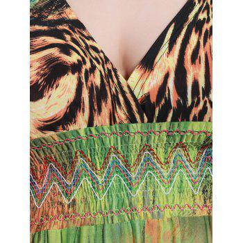 Plus Size Mock Waist Leopard Maxi Dress - COLORMIX XL