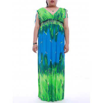 Plus Size Mock Waist Printed Maxi Dress