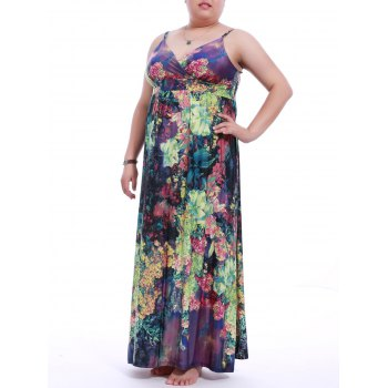Plus Size Slip Floral Print Maxi Dress - COLORMIX L