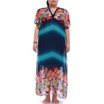 Plus Size Short Sleeve Floral Print Maxi Dress
