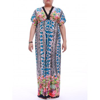 Plus Size V-Neck Snakeskin Print Maxi Dress