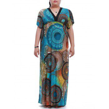 Plus Size Short Sleeve Elastic Waist Print Maxi Dress