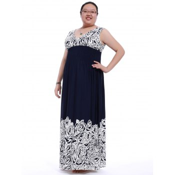 Graceful Plus Size Plunging Neck Backless Flower Print Dress For Women - DEEP BLUE XL