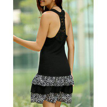 Chic Sleeveless U-Neck Flounce Lace Spliced Women's Dress