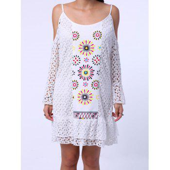 Sweet Spaghetti Strap Long Sleeve Shoulder Cut Out Lace Dress For Women