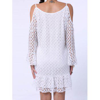 Sweet Spaghetti Strap Long Sleeve Shoulder Cut Out Lace Dress For Women - WHITE S