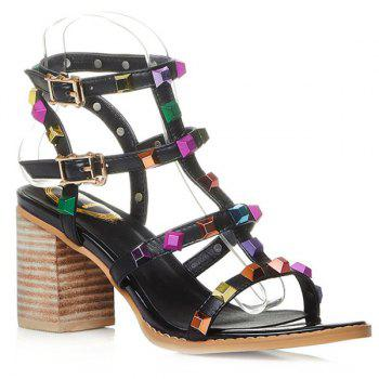 Rome Colorful Rivet and Chunky Heel Design Women's Sandals