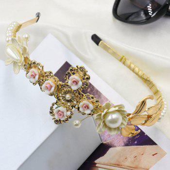 Graceful Faux Pearl Cross Floral Hairband For Women