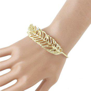 Rhinestone Single Feather Shape Embellished Golden Bracelet For Women