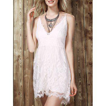 Trendy Lace Spliced Plunging Neck Romper For Women