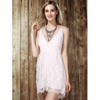 Trendy Lace Spliced Plunging Neck Romper For Women - WHITE S