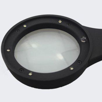 High Quality Multifunctional Magnifying Glass Counterfeit Detector Hand Loupe with 6 LED Lights -  BLACK
