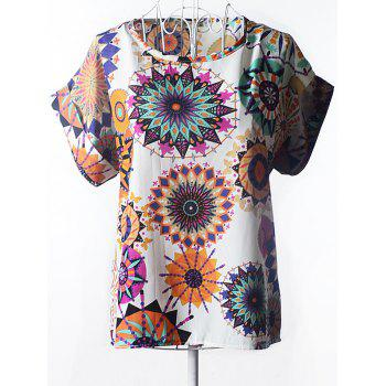 Graceful Women's Plus Size Scoop Neck Floral Print Blouse