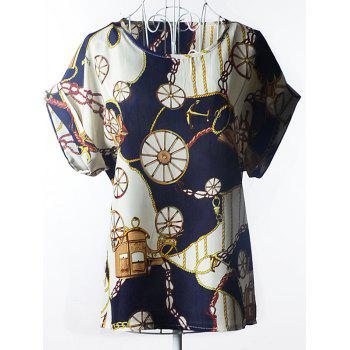 Elegant Women's Plus Size Scoop Neck Wheel Pattern Blouse