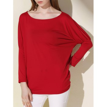 Simple Scoop Neck Solid Color Long Sleeve Women's T-Shirt