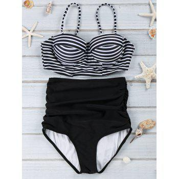 Spaghetti Strap Stripe Print Push-Up Swimsuit