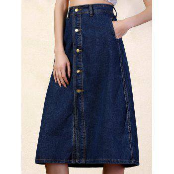 Stylish High Waist Deep Blue Denim Women's Skirt