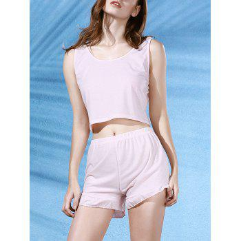 Stylish Pink Cropped Tank Top and Ruffles Shorts Women's Suit