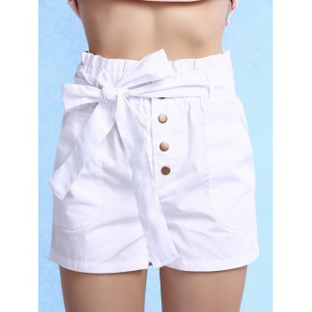 Trendy High Waisted Solid Color Belted Shorts For Women