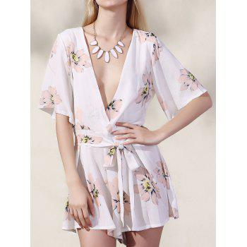 Trendy Plunging Neck Half Sleeve Floral Print Romper For Women