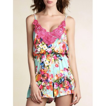 Stylish Cami Sleeveless Lace Spliced Floral Print Women's Playsuit