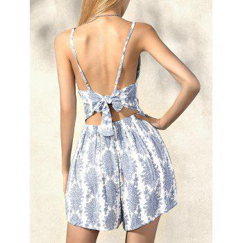 Stylish Sleeveless Waisted Printed Romper For Women